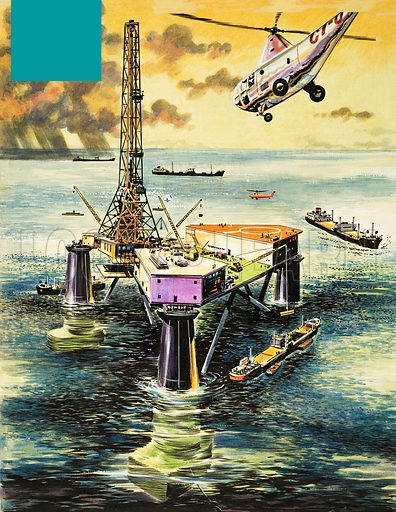 Oil Rig.  Original artwork for illustration in Treasure or Look and Learn (issue yet to be identified).  Lent for scanning by The Gallery of Illustration.