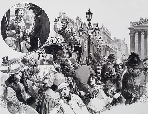 A chance word from a tramp (inset) gave Alfred Harmsworth the idea for a competition that involved guessing the amount of gold in the Bank of England and caused an uproar in the streets on the night that the competition closed. Original artwork for the illustrations on pp32–33 of L&L no.624 (29 December 1973).