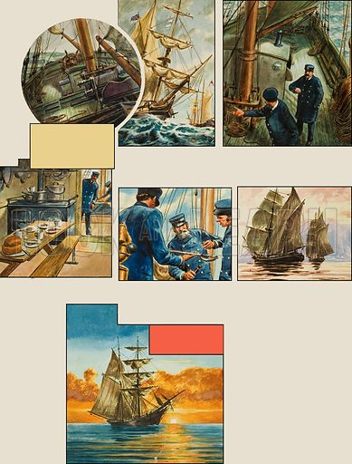 Mystery of the Mary Celeste. Original artwork for p13 of the centrefold pp12-13 of L&L no.57 (16 February 1963).