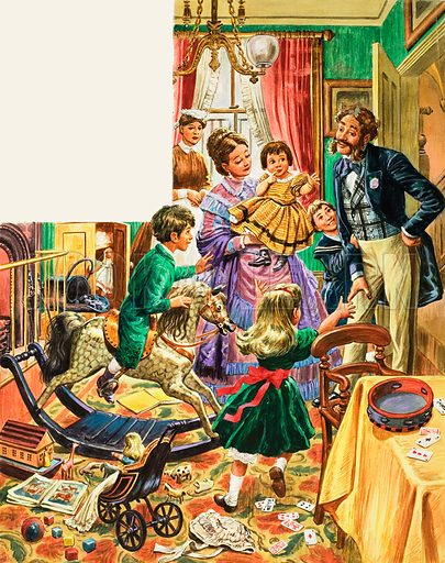 A Victorian family at home in the parlour with maid in attendance, and children's games and toys all around. Original artwork for Treasure.