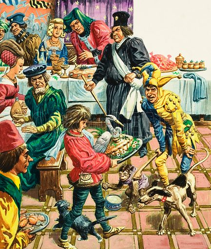 A mediaeval banquet with a jester entertaining guests as a young boy carries a roast swan or heron to the table. Original artwork for Treasure (15 November 1969).