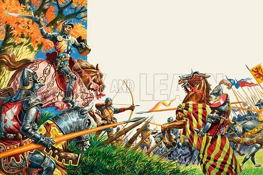 Battle of Agincourt.  Original artwork for illustration on pp16-17 of Treasure issue no 358 (22 November 1969).  Lent for scanning by The Gallery of Illustration.