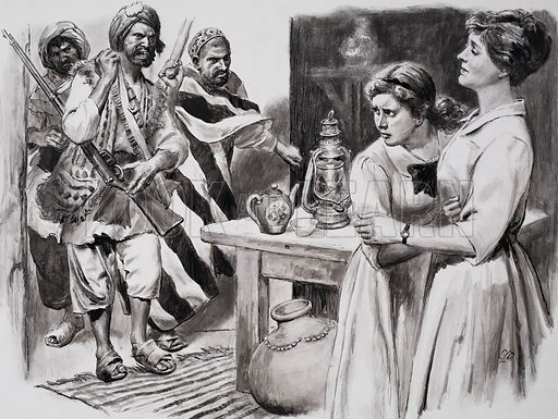 The heroine of Peshawar. The Afgans suspected a trick and burst furiously into the house. Original artwork for illustration on p11 of L&L no.283 (17 June 1967).
