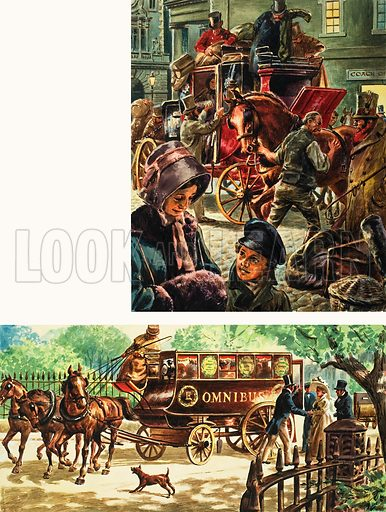 A horse-drawn mailcoach (top) was a familiar sight in Lonon until 1848, when the railways took over the task. In 1829 George Shillibeer gave London its first horse-drawn buses (bottom) which ran from the City to Paddington at a fare of one shilling. Original artwork for illustrations on p5 of L&L no. 72 (1 June 1963).