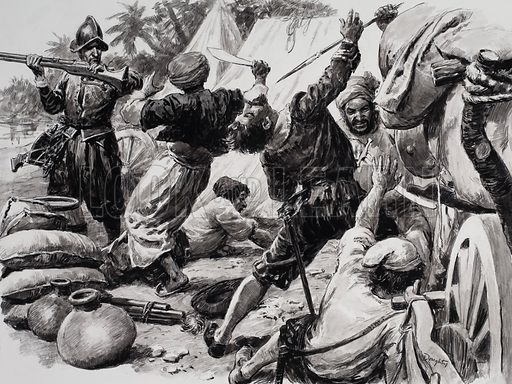 A skirmish between Spaniards and Arabs. Original artwork.