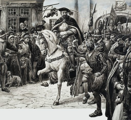Northumberland's unpopularity was apparent when he went through the city, where he was met by sullen crowds and the occasional shaken fist. Original artwork for illustration on p21 of L&L no. 169 (10 April 1965).