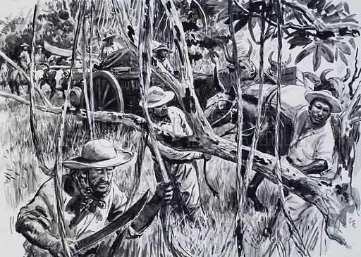 Dyott and his companions penetrated deep into the Brazilian jungle in their search for the legendary Colonel Fawcett. Original artwork for illustration on p31 of L&L no. 590 (5 May 1973).