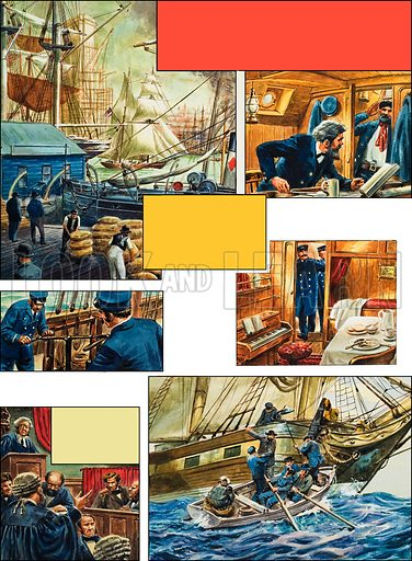 Mystery of the Mary Celeste. Original artwork for p12 of the centrefold pp12–13 of L&L no.57 (16 February 1963).