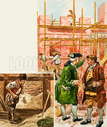 An eighteenth-century architect and builder discuss the progress on a project. Original artwork.