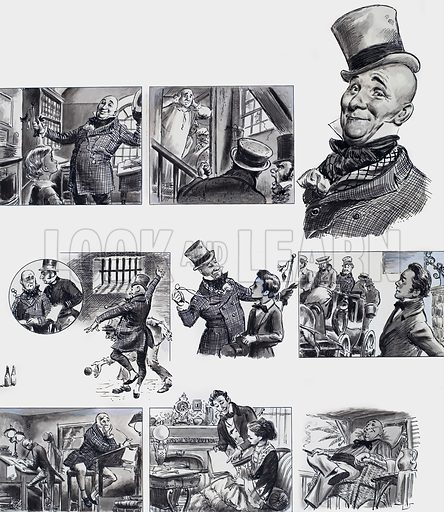 Famous Faces from Famous Books. Mr Wilkins Micawber from David Copperfield by Charles Dickens. Original artwork for illustrations on p11 of L&L no. 36 (22 September 1962).
