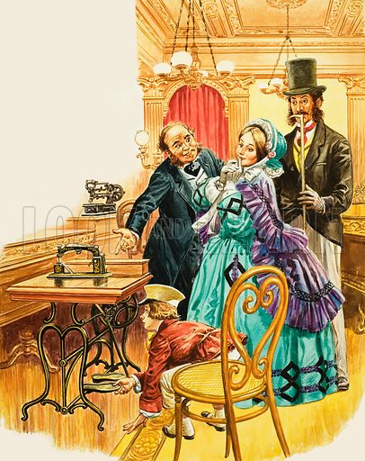A Victorian lady admires the new treadle sewing-machine in a showroom, as her husband looks on. Original artwork for illustration in Treasure (15 March 1969).