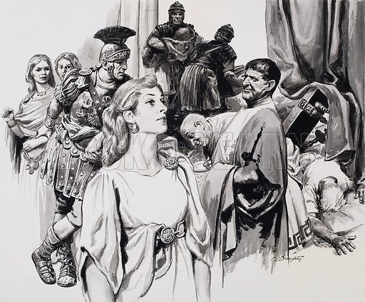 Boudicca, Queen of the Iceni. The Romans arrived in Icenia and began an orgy of destruction. Original artwork for the illustration on p25 of L&L no. 419 (24 January 1970).