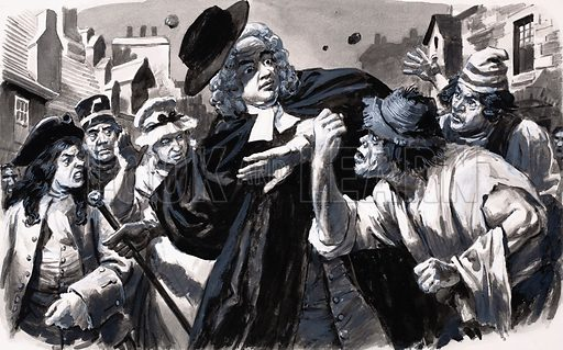 Jonathan Swift is met by an angry mob on his return to Dublin. Original artwork for an illustration on p11 of L&L no. 622 (15 December 1973).