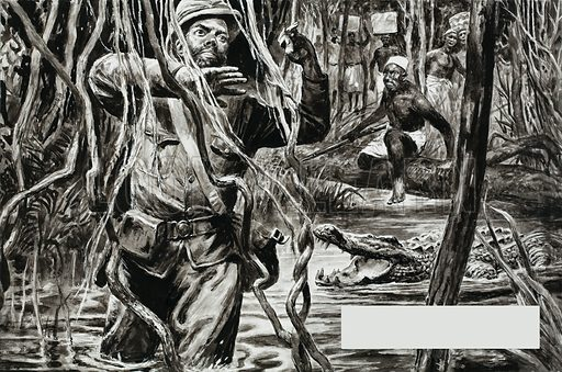 Henry Morton Stanley wades through swamp and jungle on his trek to find the lost Scottish missionary, David Livingstone. Original artwork for illustration on p26 of L&L no. 291 (12 August 1967).