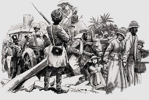 The proud yet pathetic survivors file out of the hospital after the relief of the siege of Lucknow. Original artwork for an illustration on p34 of L&L no.554 (26 August 1972).