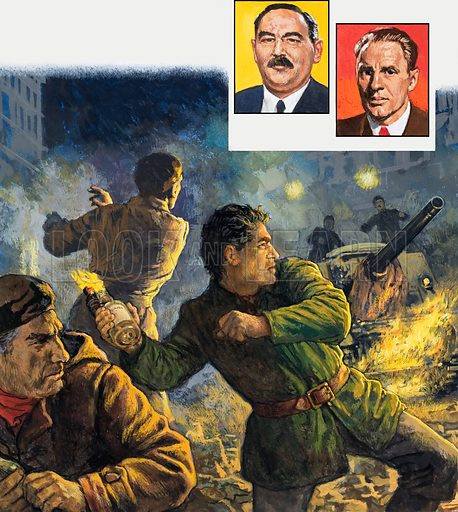 Resistance fighters during the Russian invasion of either Hungary or Czechoslovakia. Insets: possibly Dubcek, and another. Original artwork for illustrations on p2 of L&L (7 June 1980).