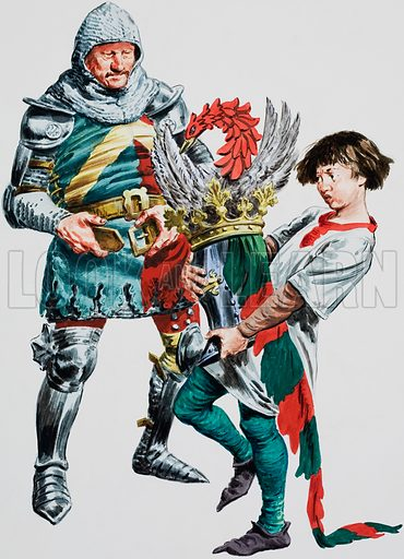 A knight putting on his armour, helped by his young squire who carries his helmet. Original artwork for Treasure.