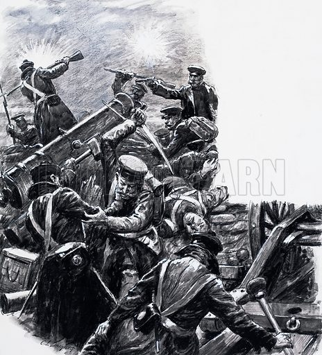 The Battle of Inkerman. When their positions were overrun the gunners fought on with their rammers - and their fists. Original artwork for the illustration on p13 of L&L no. 759 (31 July 1976).