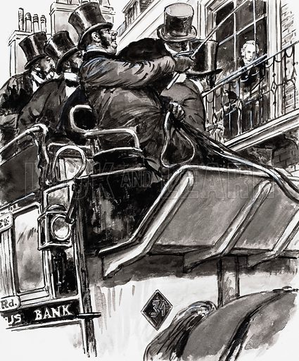 'There he is,' cried the driver, 'the Prime Minister himself.' He was referring to the revered Lord Palmerston, who could be seen at the window. Original artwork for illustration on p25 of L&L no. 638 (6 April 1974).