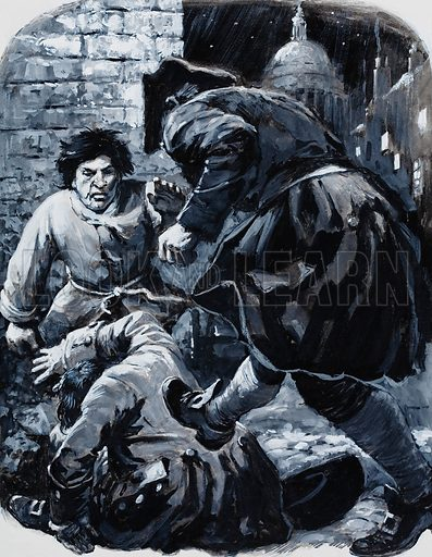 Daniel Jones, editor of The Daily Journal, put up a brief but hectic resistance to the brutal attack. Original artwork for illustration on p9 of L&L no. 622 (15 December 1973).
