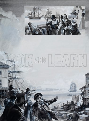 Unidentified port scene, with a ship coming in to the harbour. Inset: Puritans with cannon. Original artwork.