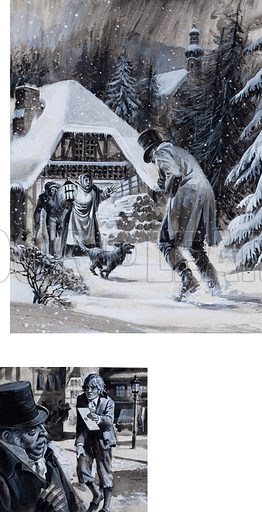 Unidentified scenes set in a snow-covered landscape and a town street, each with an outsider or wounded man. Original artwork.