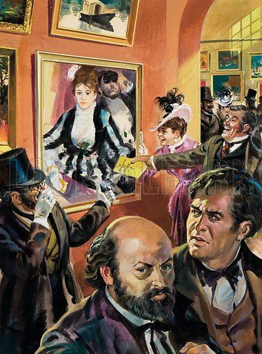 Renoir and friend at the first Impressionist exhibition. Original artwork.