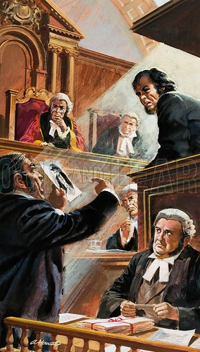 Scene in Court.  Original artwork for Look and Learn (issue yet to be identified).  Lent for scanning by The Gallery of Illustration.
