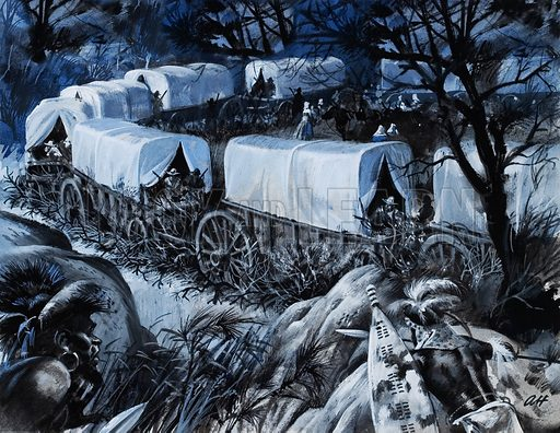 Boer Voortrekkers circling their wagons at night during the Great Trek, South Africa, 1830s.