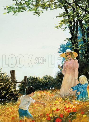 Unidentified scene in which a mother and two children stroll in a poppy-filled field. Original artwork.