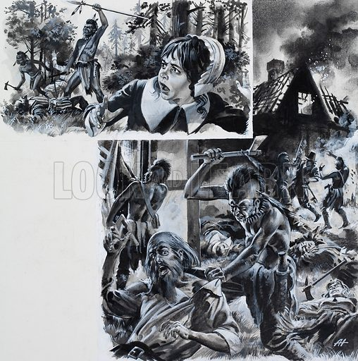 Indians had attacked the settlers but one girl managed to escape. Original artwork for illustrations on p3 of L&L no.812 (6 August 1977).