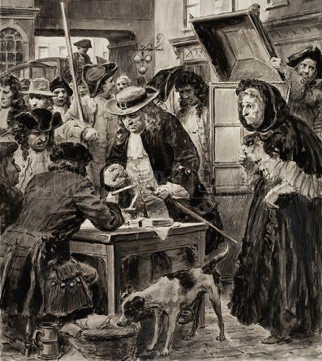 An eighteenth-century pawnbroker and his customers. Original artwork.