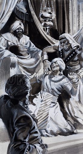Court Scene. Original artwork for Look and Learn (issue yet to be identified).