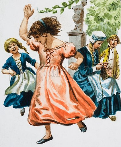 Girls Dancing.  Original artwork for illustration in Treasure (issue yet to be identified).  Lent for scanning by The Gallery of Illustration.