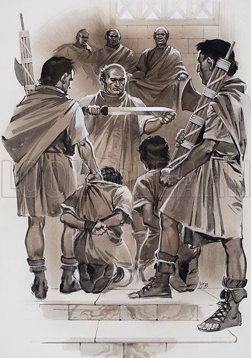 Brutus watched unflinchingly from his seat on the high tribunal as his two sons, who had been guilty of taking part in a conspiracy, were beheaded in front of him. Original artwork for the illustration on pp2-3 of L&L no. 616 (3 November 1973).