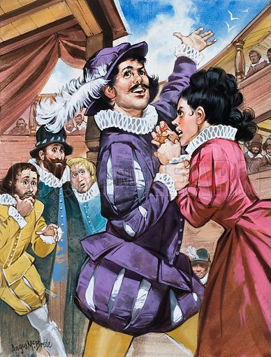 "Shakespeare's ""The Taming of the Shrew"" is a wonderfully colourful play in which Petruchio, a gentleman of Verona, marries the notorious, fiery-tempered Katherina, and finally  'tames' her. Original artwork for illustration on p25 of Look and Learn issue no. 610 (22 September 1973)."