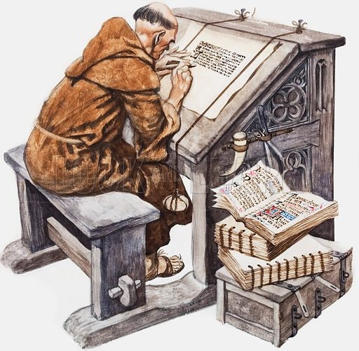 Medieval monk at his desk in a scriptorium. He is both a copyist and an illuminator of the capital letters. Original artwork for Treasure magazine (probably 5 October 1968).
