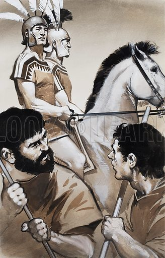 The Etruscans considered themselves a superior race to their neighbours and looked down contemptuously on the rude Roman peasants. Original artwork for an illustration in Look and Learn issue no 613 (13 October 1973).
