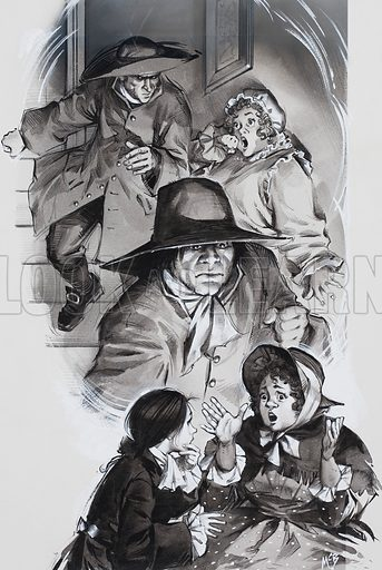 Smith is a novel by Leon Garfield set in the underworld of 18th century London. It was abridged and illustrated for Look and Learn, with illustrations such as this showing the chief characters at dramatic moments in the plot. Meg tells her story of how two men had ransacked Smith's room in Vine Street - searching for the document. Original artwork for the illustration on p13 of Look and Learn issue no 349 (21 September 1968).