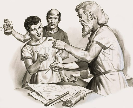 """Give this boy some pennies,"" Euclid called to his slave, ""since he must learn for gain"". This article appeared in a series called The World's Great Thinkers. Original artwork for the illustration on p26 of Look and Learn issue no 119 (25 April 1964)."
