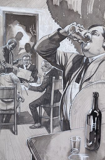 Obregon, last of the four revolutionaries to be killed, died while looking at his assassin's drawings in a restaurant. This featured in a series on the Mexican Revolution and the four men who brought down the dictator Heurta. Original artwork for the illustration on p26 of Look and Learn issue no 530 (11 March 1972).