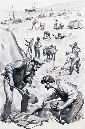 The search for Captain Kidd's treasure. Hundreds of treasure-seekers descended on Deer Island after reports of precious finds there. But it was all a gigantic hoax. Original artwork for the illustration on p6 of Look and Learn issue no. 570 (16 December 1972).