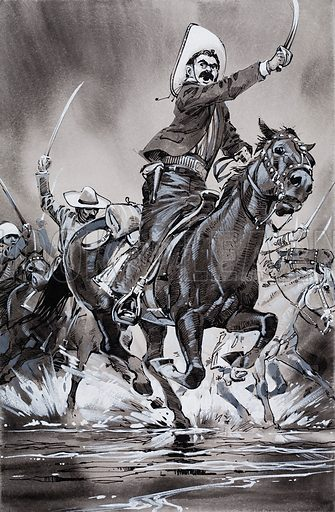 Mexico's unfinished Revolution.  The dashing bandit leader, Pancho Villa, fought battle after battle, culminating in an encounter with Federal troops outside Juarez. The climax was a mass cavalry charge which routed the enemy forces and left more than a thousand dead on the battlefield. Original artwork for the illustration on p26 of Look and Learn issue no.529 (4 March 1972).