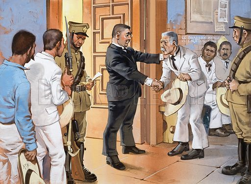 Mexico's unfinished Revolution. When Madero was in power Indians continually tried to get given land from Government officials, but they never succeeded. Original artwork for the illustration on p24 of Look and Learn issue no. 529 (4 March 1972).