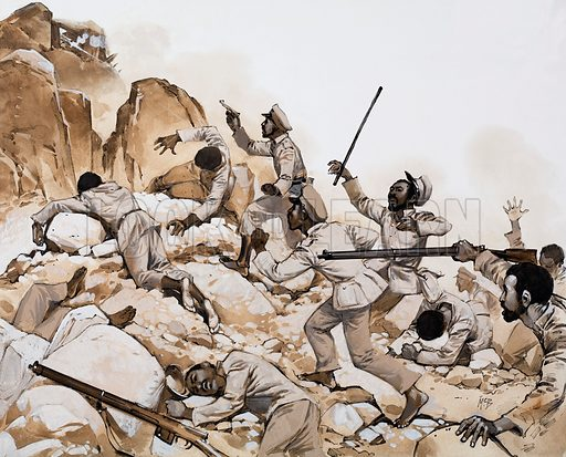Military skirmish in rocky terrain possibly involving government forces and rebel snipers. Original artwork for an illustration in Look and Learn (as yet unidentified).