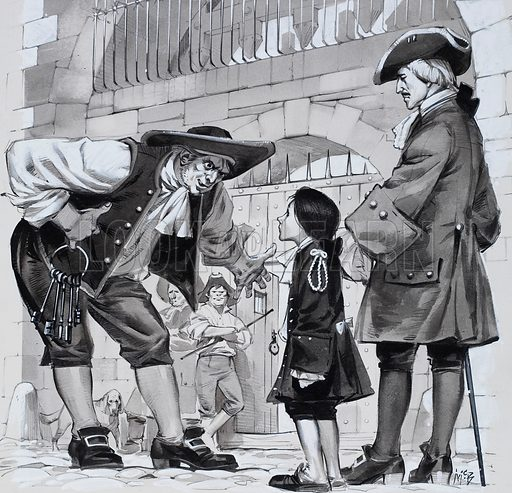 "An adaptation of Smith by Leon Garfield, a novel set in the underworld of 18th century London. Smith, a young boy, is accused of murder and taken to Newgate. The gaoler was surprised when he discovered who the clean-faced liveried boy was. ""Not old Smith?"" he said. Original artwork for the illustration on p10 of Look and Learn issue no. 348 (14 September 1968)."