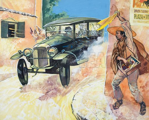 A scene from Mexico's unfinished Revolution. Now it was time for Pancho Villa to die. He met his end when his car was ambushed in Parral. A street vendor's yellow bandana was the signal for a hail of bullets. Original artwork for the illustration on p25 of Look and Learn issue no. 530 (11 March 1972).
