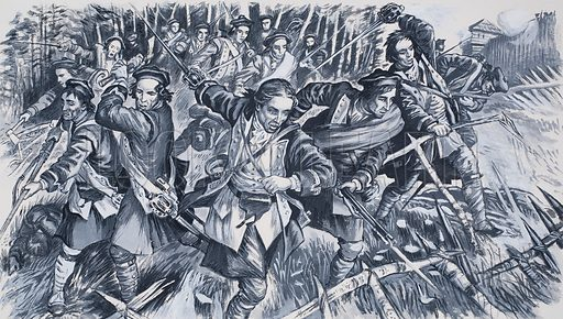 Terror at Ticonderoga. The Highlanders charged forward, trying to hack a path through the dense maze of brushwood with their claymores. But it was useless. The French poured down a withering fire and most of the soldiers died with their wild battle cries still on their lips. Original artwork for the illustration of p44 of Look and Learn no. 596 (16 June 1973).