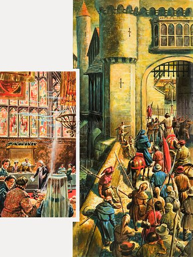 A gesture of friendship and a gesture of hate in medieval London. Left: Taking the king's promise to repay £60.000 borrowed for fighting the French, Mayor Whittington throws it in the fire. Right: A few years later the gates of London are opened to Wat Tyler, heading the Peasants Revolt, as his army of Kentish labourers crosses London Bridge. Original artwork for both illustrations on p5 of Look and Learn issue no. 69 (11 May 1963).