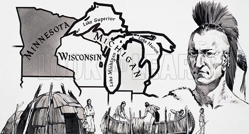 In the course of its history America has seen many struggles, but there has probably been none so saddening as the long Indian struggle for survival. Their last real chance of victory occured is the State of Michigan. To the right: Pontiac - the great Indian chief who marshalled his people in a massive stand against the British. Original artwork for the illustration on p26 of Look and Learn issue no. 412 (6 December 1969).